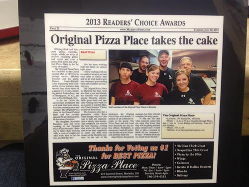 "Voted ""Best Pizza' in Marietta in 2013 and 2014"