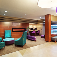 Enjoy our lobby with fireplace and 24 hr business center