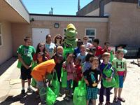 Scrappy the Turtle helping with an educational yard tour.