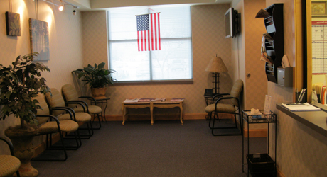 Comfortable Waiting Area with Patient Education TV