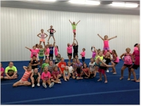 cheerleaders having fun at a birthday party