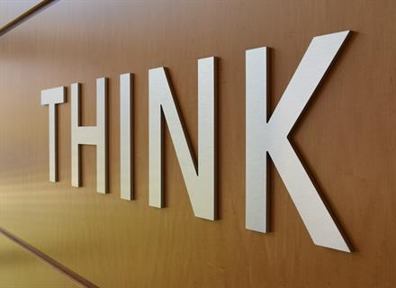 Think logo in IBM lobby