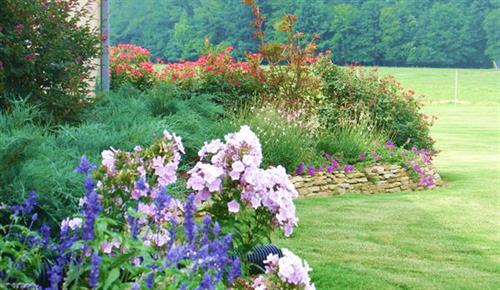 Raised garden beds with colorful perennials add softness to a Mediterranean garden.