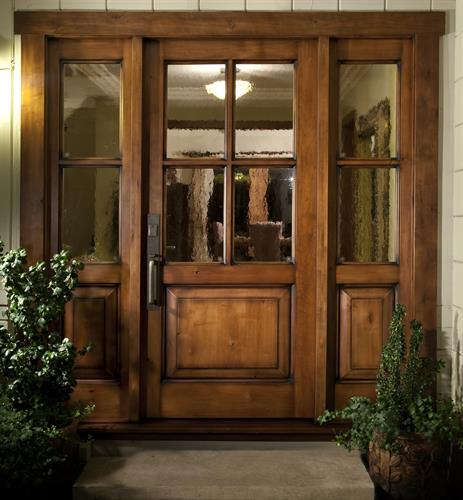 Knotty Alder 4 light Entry Door with 2 Sidelights and GNA Glass