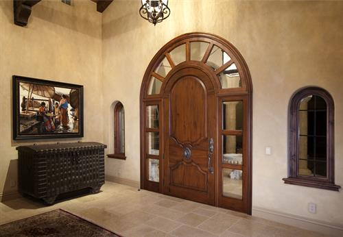 Full Radius Entry Door with combined transom and sidelights
