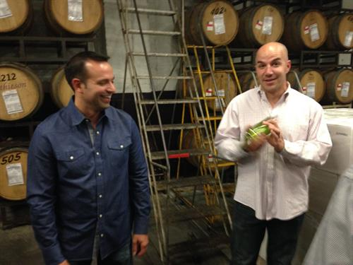 "Client Event, ""Make Wine With Us.""  Pictured:  Vice President with Director of Operations."