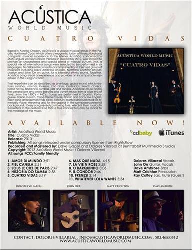 Buy our debut CD - 'Cuatro Vidas'