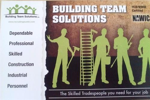 Building Team Solutions  recruiting, staffing and placement for the constrcution, industrial and manufacturing arenas