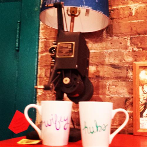 Personalized mugs and projector lamp.