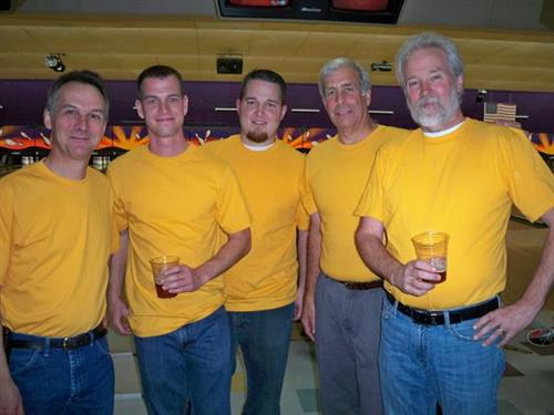 Chamber Bowling, left to right: Joe Wollack, Mike Schneider, Brendan Redfield, Andy Balosie, Jim Rayner