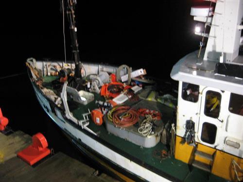 Dive equipment on deck