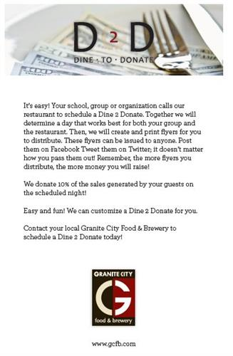 Dine 2 Donate - Fundraise with us!