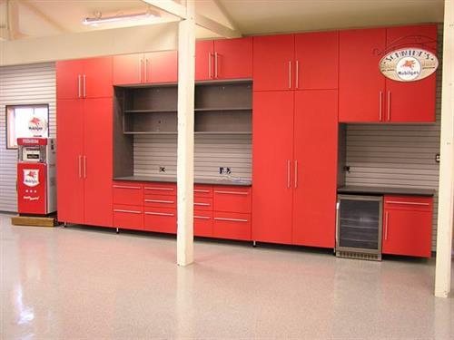 Custom Garage Cabinets-Red Powder Coat
