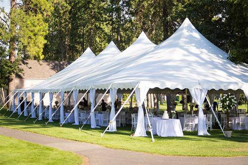 40x80 Pole Tent with Leg Drapes - Manito Golf Club