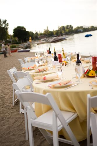 White Resin Chairs - Beach Reception