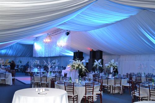 Frame tent with fabric liner - custom lighting