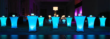 Lit Cocktail Tables with Spandex covers - custom lighting effects