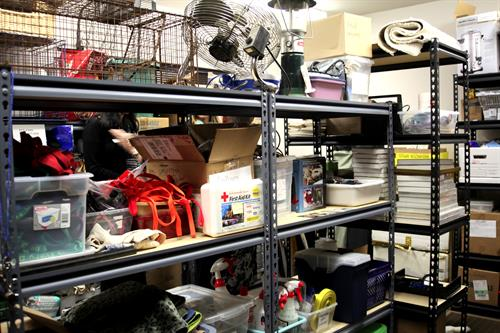 Our Disaster Relief room, so we're ready to help you help your animals in time of need!