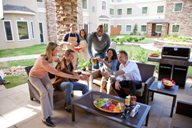 Featuring an outdoor patio, fireplace, and television, the courtyard is open to all guests, rain or shine.