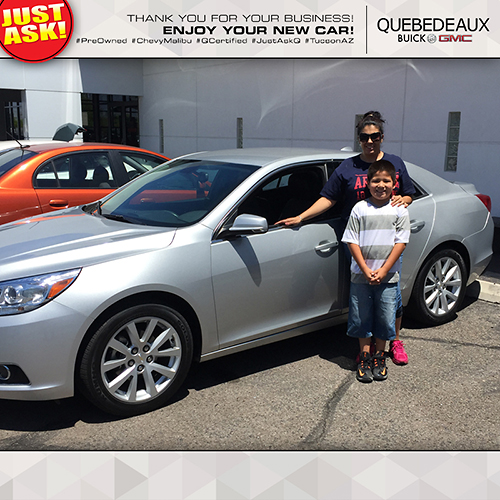Angelica Valenzuela with her new 2013 Chevy Malibu. Came all the way from San Antonio, Texas, to see Salesman Dan Rodarte for her new car. Thank you for choosing Quebedeaux for your purchase!