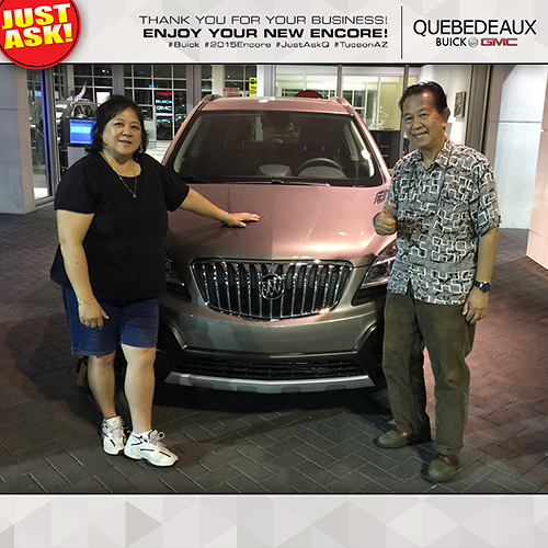 Mr. and Mrs. Lee with their 2015 Buick Encore. Sold by new car salesman, Dan Rodarte. Thank you for choosing Quebedeaux for your purchase!