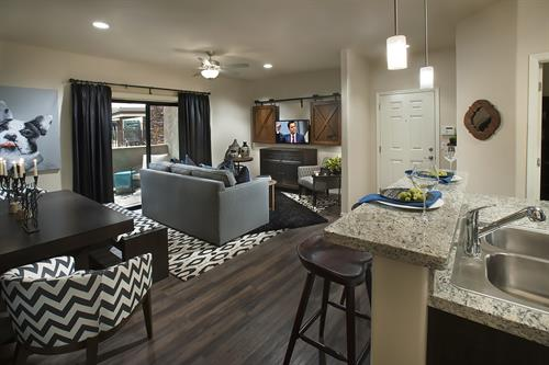 Living and Dining Area in One Bedroom