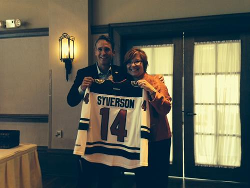 The MN Wild presented Lori with a personalized jersey