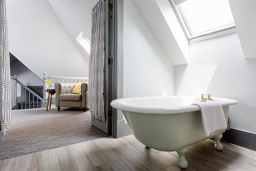 One of the charming guest room bathrooms at our Portsmouth boutique hotel.
