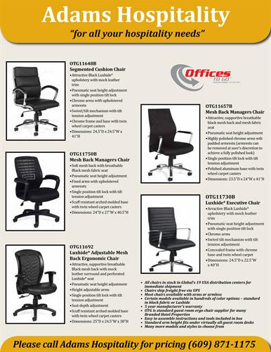 Ergonomic Chairs for all Branded Properties
