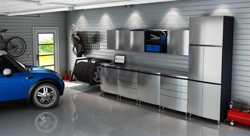 Stainless Silver Contur Garage Cabinets