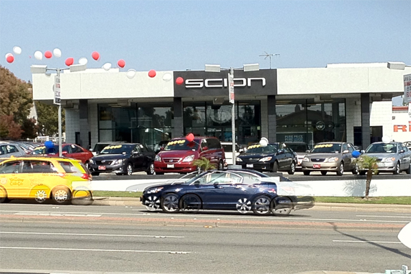 A View Of Manhattan Beach Toyota Scion From Hotdoggers On Sepulveda!