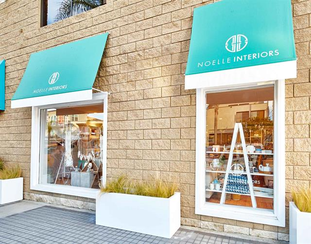 Our signature turquoise awnings
