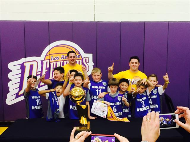 Your group can take pictures with the Laker Championship Trophies