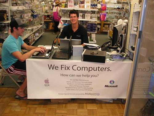we fix computers- remove viruses, spy ware, data transfer, set up wireless networks- We are located in Pioneer Hardware