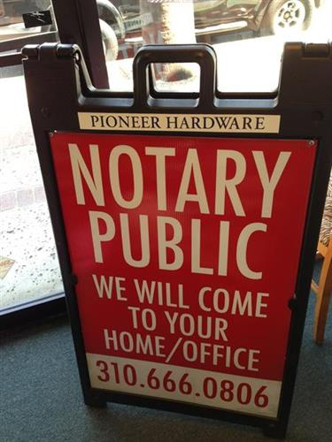 Pioneer has a traveling Notary service- home, office or @ Pioneer
