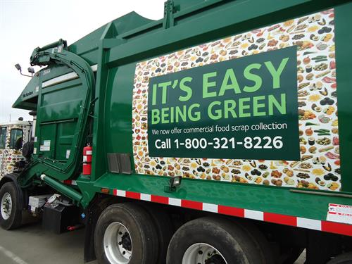 Look for WM's organics collection truck covered in food!