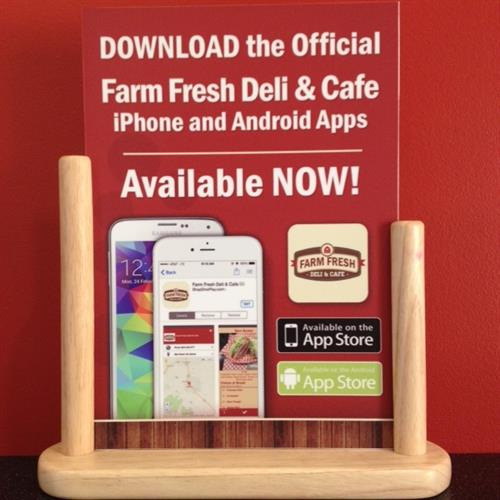 Download our free app on Apple or Android. Your oder will be waiting when you get here.