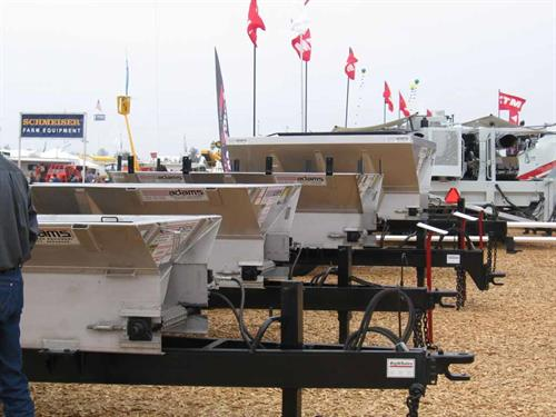 The line up showing a variety of pull type spreaders