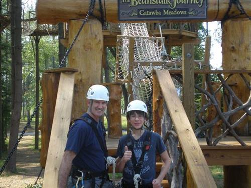 Zipline with grandson Sam