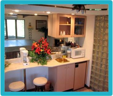 The Bay Chalet has a microwave, refrigerator, coffee maker and wine chiller
