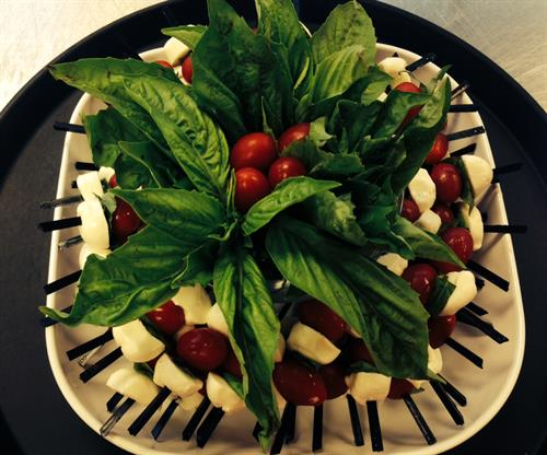 Caprese Skewer Display w/ Basil Garnish