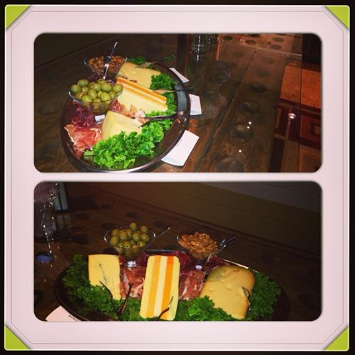 Assortment of Gourmet  Block Cheese display w/ Prosciutto