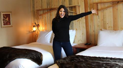 Designer Blanche Garcia of Travel Channel's Hotel Impossible revealing makeover to Room 6 at lakeside motel