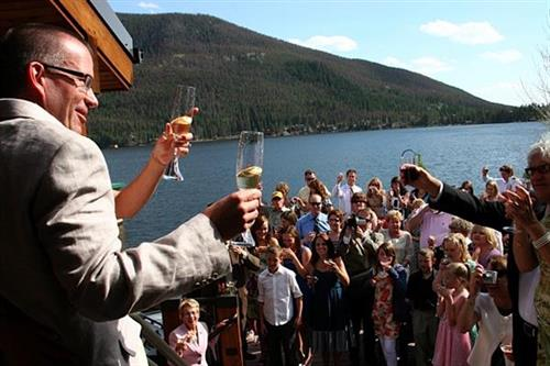 Toast with Bride & Groom at Western Riviera Lakeside Event Venue
