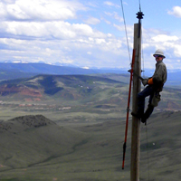Lineman Pj Saputo on top of Jelm Mountain
