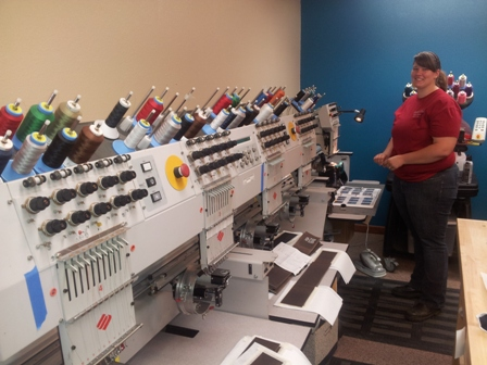 A bank of our embroidery machines.
