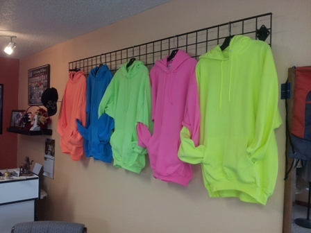 New Florescent Hoodys await your Logo