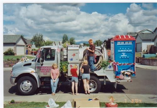 Decorating truck for the Fourth of July Parade