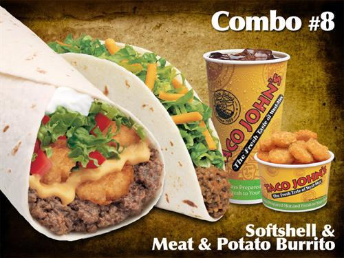 Meat & Potato Burrito and a Soft Shell Combo