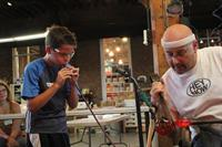 Kids & Adults Get Hands-On with Glass Blowing